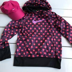 Nike thermal sweatshirt pink polka dots & hoodie